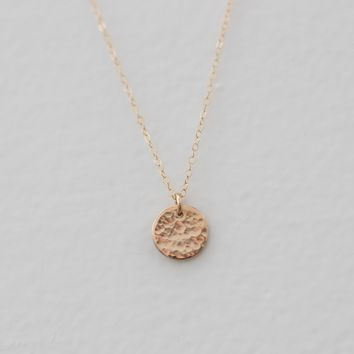 Mini Hammered Disc Necklace