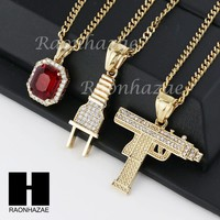 MENS STAINLESS STEEL RUBY MACHINE GUN PLUG PENDANT CUBAN NECKLACE 3PCS SET NP006