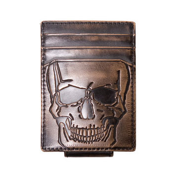 Men's Wallet - Leather Wallet - SKULL Embossed Magnetic Front Pocket Wallet