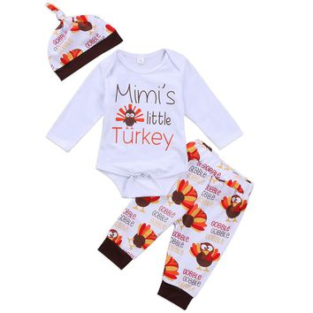 Thanksgiving Day Newborn Baby Boys Girls Outfits Clothes Set Bodysuit Pants Hat