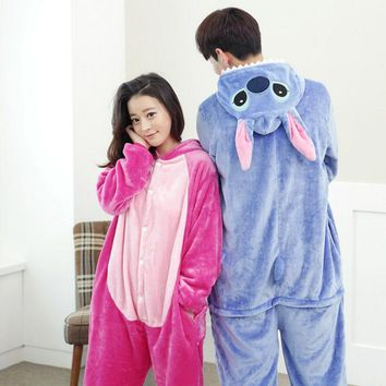 Lilo And Stitch Pajamas Anime Cosplay Costume Winter Flannel Hoodie Pajamas Adult Blue Pink Stitch Onesuit Stitch Pajamas