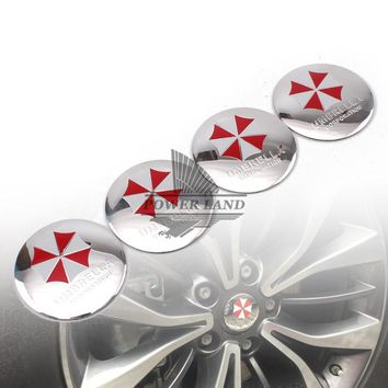 4xAluminium Car Steering Resident Evil Umbrella Corporation Wheel Center Hub Cap Emblem Badge Decal Symbol Wheels Sticker 55mm