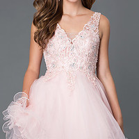 Short V-Neck Babydoll Dress 9348 by Mori Lee