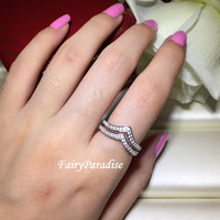 Double Chevron Wedding Band, Stacking V ring, pointy ring, stacked band, friendship ring, bridesmaids gifts, 925 silver, man made diamond