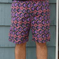 Mens Givenchy Activewear bermuda shorts, 80s tribal pattern, Size XL swim trunks