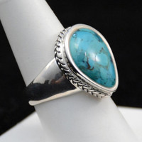 Sterling Turquoise Ring, Turquoise Tear Drop Ring, Native Turquoise Ring     J740