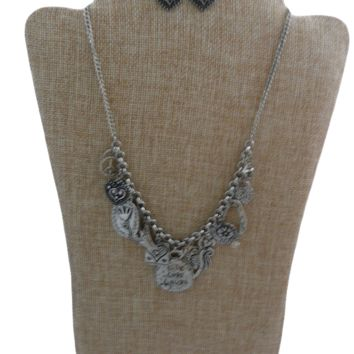 Pandora style Necklace & Heart Earring Set