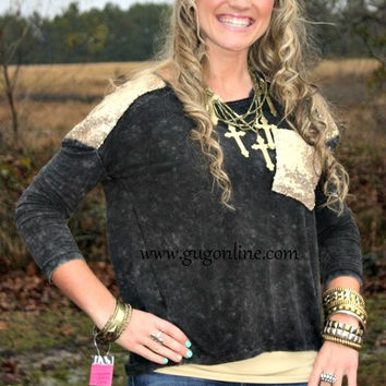 Glitz and Glam Gold Sequins on Distressed Black Long Sleeve Top