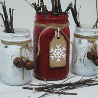 Holiday White Snowflake Christmas decor set of 3 Mason Jars, Christmas table decor, Christmas decorations, Holiday decorations