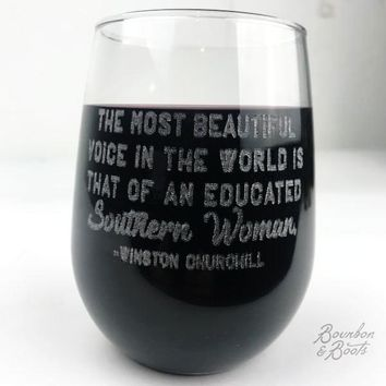 Southern Woman Engraved Wine Glass Set
