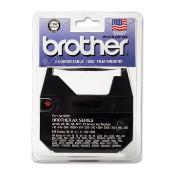 Brother 1230 Correctable Ribbon for Daisy Wheel Typewriter (2 Pack) BLACK 1