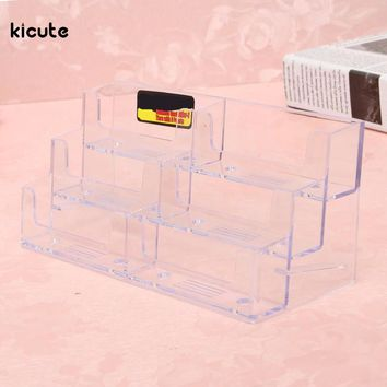 Best Promotion Acrylic Plastic 6 Pockets Desktop Business Card Holder Display Stand Desk Shelf Fit For Office School Accessories
