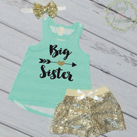 Big Sister Shirt Big Sister Outfit Pregnancy Announcement Big Sister Tank Top Sibling Shirts Big Sister Shirts 037
