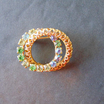 Vintage Gold Tone Double Circle Wreath Green Blue Rhinestone Vintage Costume Jewelry