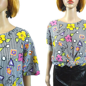 tEMPSALE Vintage 90's Tee/ Houndstooth Top/ Flower Power Rave Shirt/ Oversize 1990's T-Shirt/ Fresh Prince/ Blossom Blouse/ Pop Art Graphic