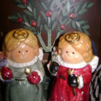Vintage Christmas Angel Salt and Pepper Shakers