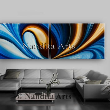 Oil Painting Original Abstract Painting, Large Modern Art on Canvas, Contemporary Art Room and Home Decor Dark Brown Wave Artwork Nandita