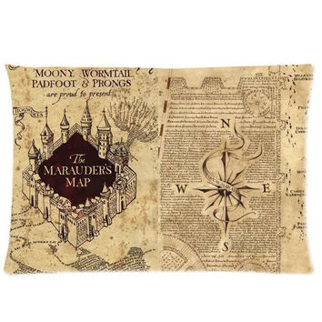 Harry Potter Marauder's Map 20X30 Two Sides Custom Cotton & Polyester Pillow Case Cover Cushion Cover Model: CHH-0097?Build-to-Order?