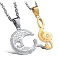 Engraved Musical Notes His and Hers Interlocking Cubic Zirconia CZ Dangling Charm Pendant Silver Stainless Steel Necklace