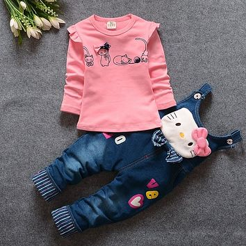 BibiCola 2017 spring autumn Baby Girls Clothing Set casual long-sleeved T-shirt+Denim overalls jeans Pants Kids girls Clothes