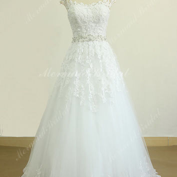 Keyhole back white A line lace wedding dress with elegant beading sash