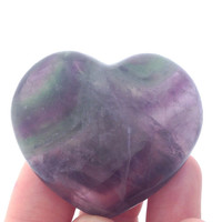 Rainbow Flourite Puff Heart / 45 mm / Reiki Charged / Eases pain / Mental Clarity / Menstruation Energy Flow / Pocket Stone / Palm Worry