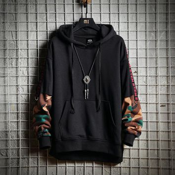 Privathinker Men Camouflage Hooded Hoodies Sweatshirts 2018 Mens Patchwork Hiphop Pullover Male Japanese Fashions Windbreaker