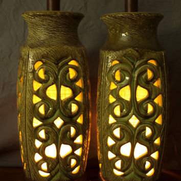 Pair Mid-Century Modern Green Ceramic Perforated Cut-Out Table Lamps