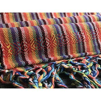 Mexican Rebozo Shawl - Reddish Rainbow