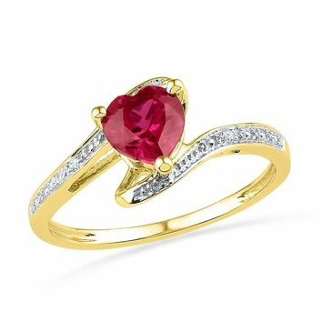 10kt Yellow Gold Women's Heart Lab-Created Ruby Solitaire Diamond-accent Bypass Ring 1.00 Cttw - FREE Shipping (US/CAN)