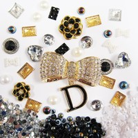 DIY 3D Bling Cell Phone Case Deco Kit: Rhinestone, Rose, Bow, Cabochon, Pearl