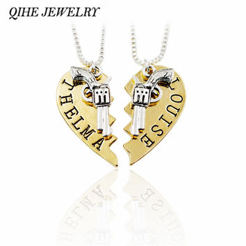 QIHE JEWELRY 2pcs/set Broken Heart Pistol Gun Thelma & Louise Pendant Necklace Sister Best Friends Women Matching Necklace Movie