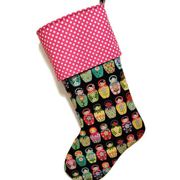 Matryoshka doll Stocking, Matryoshka Stocking, Russian Nesting Dolls Stocking, Nesting Dolls Stocking, babushka doll Stocking, babushka