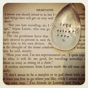 Vintage Hand Stamped Teaspoon Book Mark/Page Clip - Fell Asleep Here