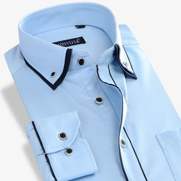 Long Sleeve Men Dress Shirt Social Double Collar Button-Up Patchwork Non-iron Slim Fit Men Casual Business Shirt