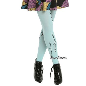 Licensed cool Disney Nightmare Before Christmas Sally Rag Doll Stitches Tights Nylons ONE SIZE