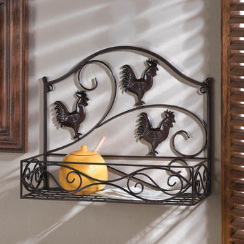 Wall Basket Decor-Three Iron Roosters