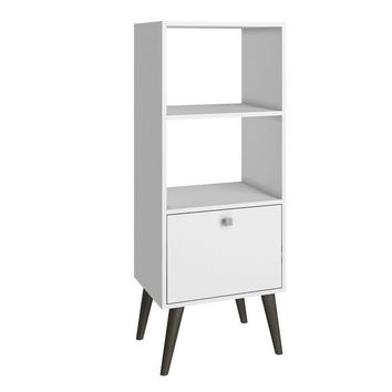 Sami Double Bookcase White and Grey Feet