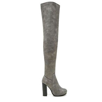 ESBONIG Jeffrey Campbell Kitsap- Grey Over-The-Knee Boot