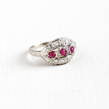 Vintage 14k White Gold Diamond & Created Ruby Ring - 1930s Art Deco Size 6 3/4 Pink Gemstone Fine Anniversary Engagement Filigree Jewelry