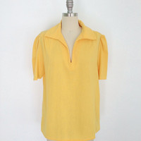 Vintage Blouse / Bright Sunny Yellow Cotton / Ethnic Style / 1970s 70s  /  Size Large L XL