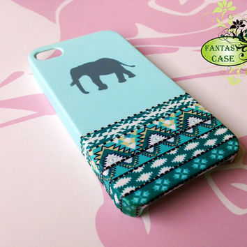 Elephant on Mint Aztec - iPhone 4 Case, iPhone 4s Case, iPhone 5 Cover, iPhone 5s, Galaxy S3, Galaxy S4, Galaxy Note2, Phone Covers