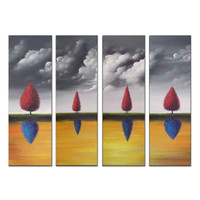 Red and Blue Contemporary Tree Landscape Canvas Wall Art Oil Painting