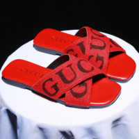 GUCCI New fashion cross letter leisure slippers flip flop women shoes Red