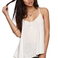 LA Hearts Crochet Back Tank - Womens Shirts - White -