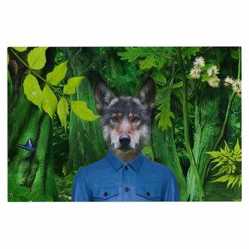 "Natt ""Into The Leaves N3"" Green Wolf Decorative Door Mat"