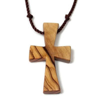 Bethlehem Olive Wood Cross Necklace for Men, Holy Land Olive Wood Religious Pendant on Black Hand Knotted Nylon Cord, Mens Cross Necklace