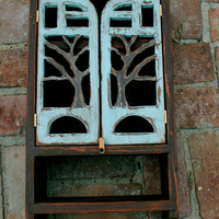 Wood Wall Cabinet - Oak Tree - Woodland - Shelf with a Towel Bar