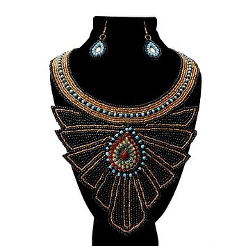 Black and Gold Bead with Layered Dramatic Jeweled Center Bib Necklace Set