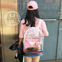 Backpack jelly beach bag bag retro Harajuku female junior high school students' transparent transparent Backpack